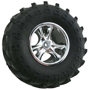 "하비몬""Clawz"" 2-2"" Narrow Rock Crawler Wheels (Chrome) (2)[상품코드]RPM"