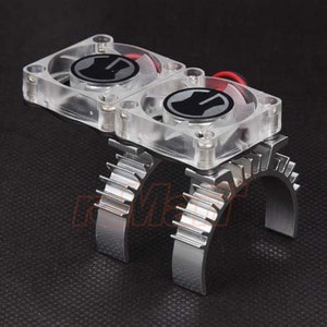 하비몬Aluminum Motor Heat Sink Silver w/ Cooling Twin Fans For Traxxas TRX-4 [상품코드]GRC